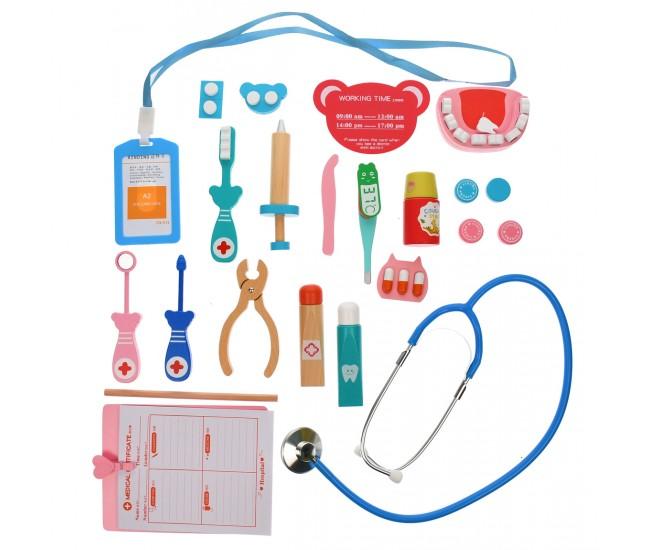 Set trusa medicala de jucarie din lemn, cu 23 de accesorii - 3331217