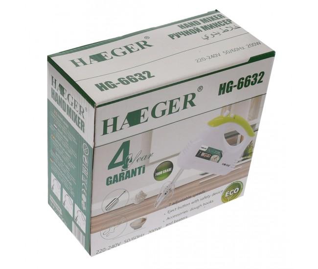 Mixer de mana Haeger 200W, 7 viteze, Accesorii: 2 spirale, 2 teluri - HG6632