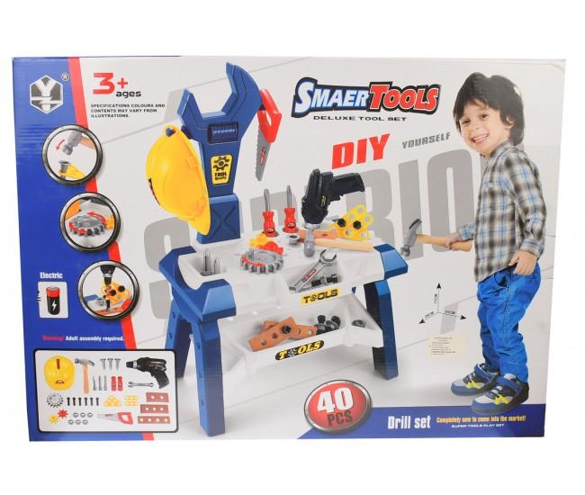 Set banc de scule copii cu bormasina electrica de jucarie - T1032