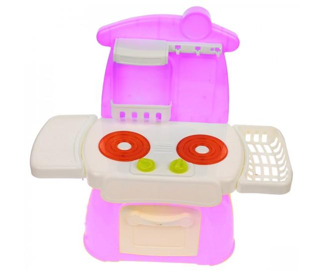 Mini bucatarie de jucarie cu ustensile, recipiente si mancare, sunete si lumini - 889202
