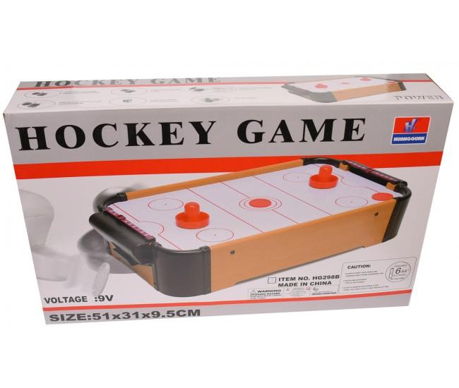 Masa de air hockey de jucarie, din lemn, cu baterii, 55X30 cm - HG298B