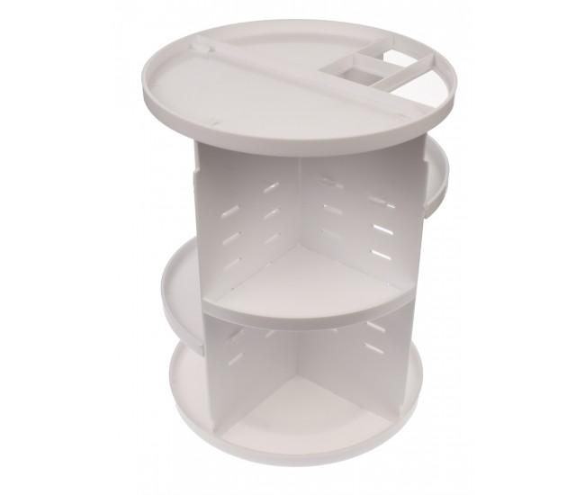 Organizator/suport pentru machiaj, rotatie 360 de grade, diametru 25 cm, alb