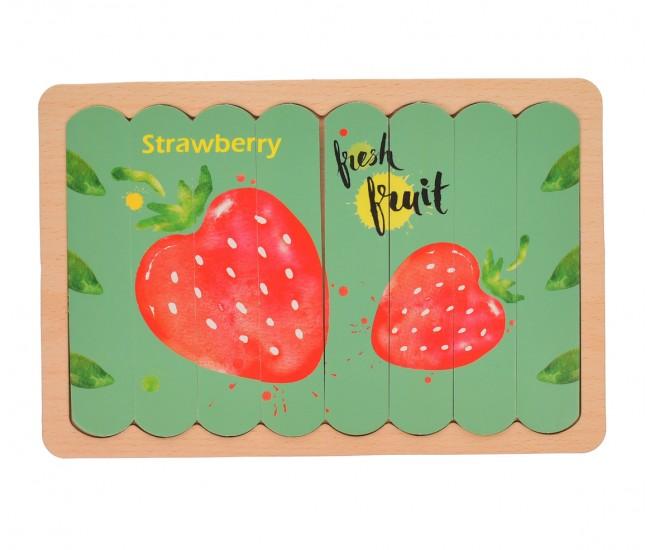 Set puzzle de jucarie, 8 fructe, din carton cu suport de lemn - 3331233
