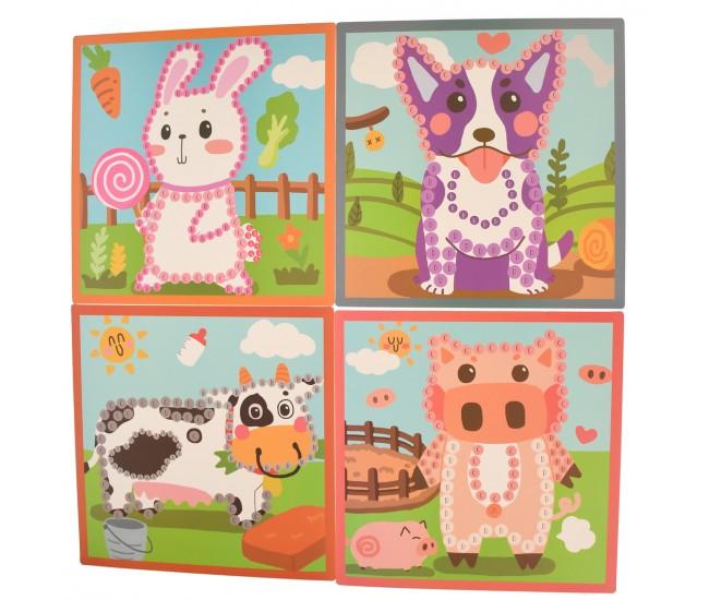 Jucarie de desenat, 5 desene cu animale, markere si bile din lemn - 3315105