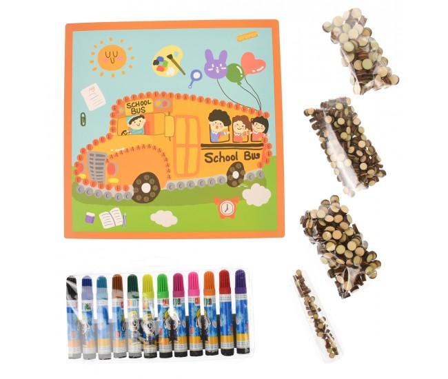 Jucarie de desenat, 5 desene cu vehicule, markere si bile din lemn - 3315104