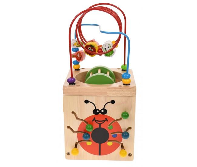 Cub din lemn, cu ceas, adunara si scadere, litere, animale, clopotei - 3331244