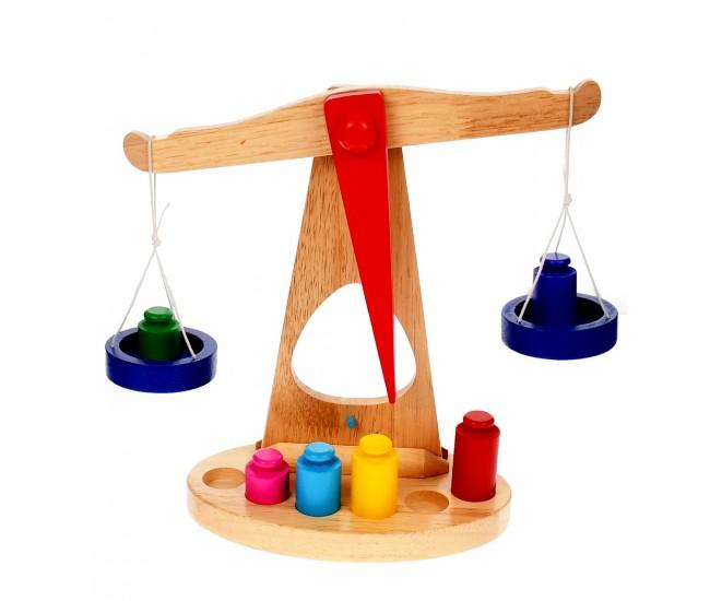 Balanta de jucarie din lemn, cu greutati, inaltime 24 cm - 22200007