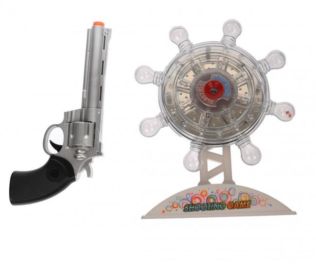 Set pistol si tinta rotativa de jucarie, cu sunete si luminite, revolver - 933H16C