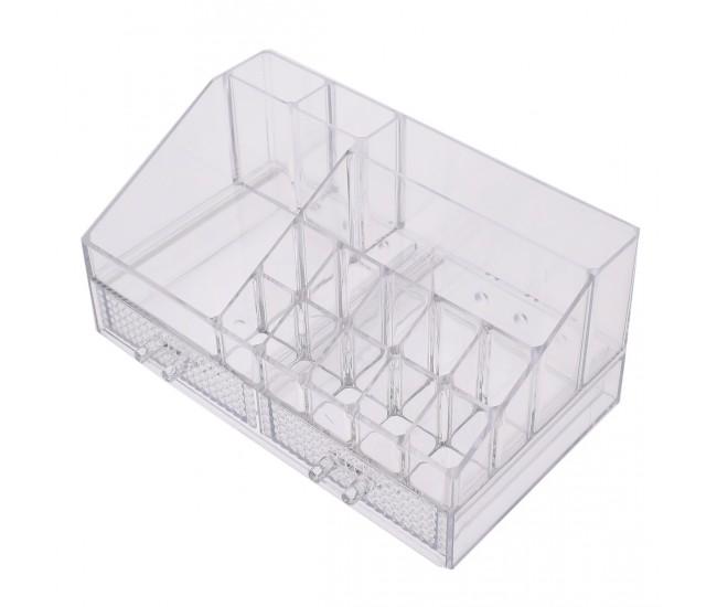 Organizator/suport pentru machiaj, cu sertare, transparent - 7680