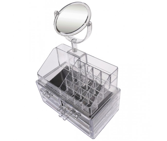 Organizator/suport pentru machiaj si oglinda, cu sertare, transparent