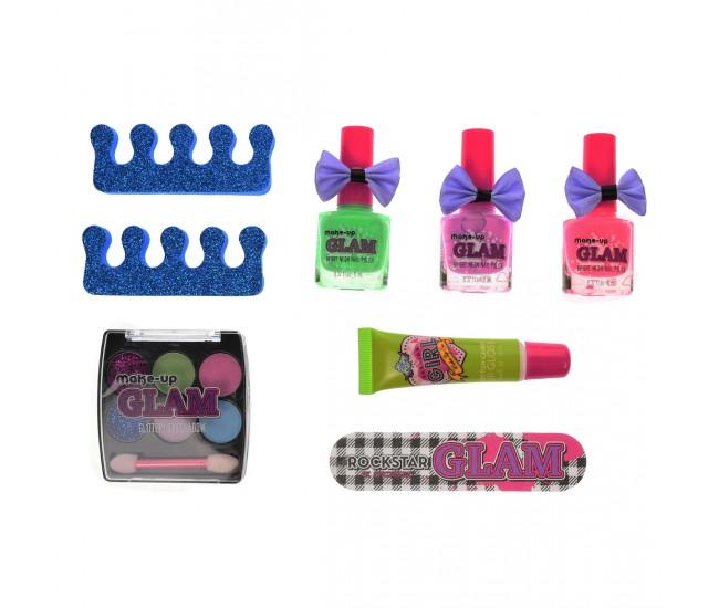 Set pentru decorarea unghiilor de jucarie, sclipici, oja, multicolor - 81027