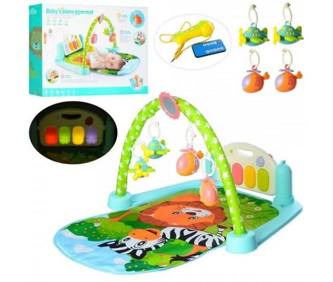 Centru de activitati pentru bebelusi, saltea interactiva cu telecomanda, muzica si lumini - 9913B