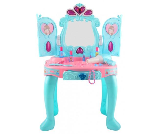 Set salon de frumusete cu oglinda care se deschide si uscator de par de jucarie functional, 14 accesorii - 3310