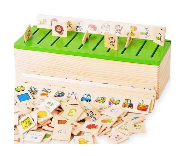 Puzzle de jucarie din lemn, potrivire imagini, numere, forme - 1103067