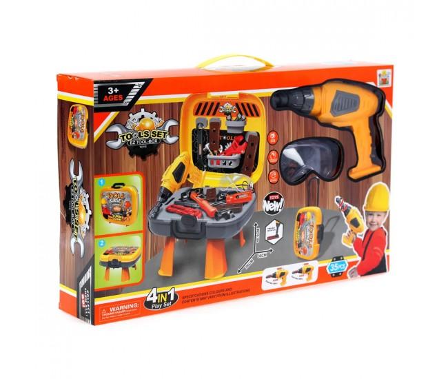 Set banc de scule copii cu bormasina electrica de jucarie - 3677871