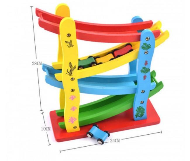 Masinute de jucarie din lemn, cu rampe, 28 x 27 cm, multicolor - 3315049