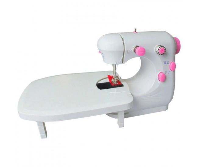 Masina de cusut portabila cu pedala, alimentare pe paterii sau la retea, alb/roz - JYSM301