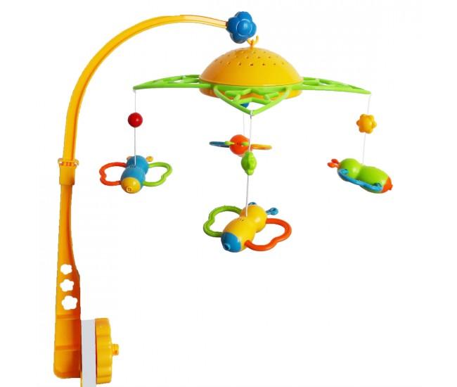 Carusel muzical cu proiectie de lumini, jucarie pentru bebelusi pe baterii - SL81001