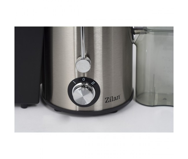 Storcator legume fructe ZILAN ZLN-8020, Putere 800 W, Tub de alimentare 75 mm, Recipient colectare pulpa 1L, Pahar colectare suc 1L, negru/inox - ZLN8020