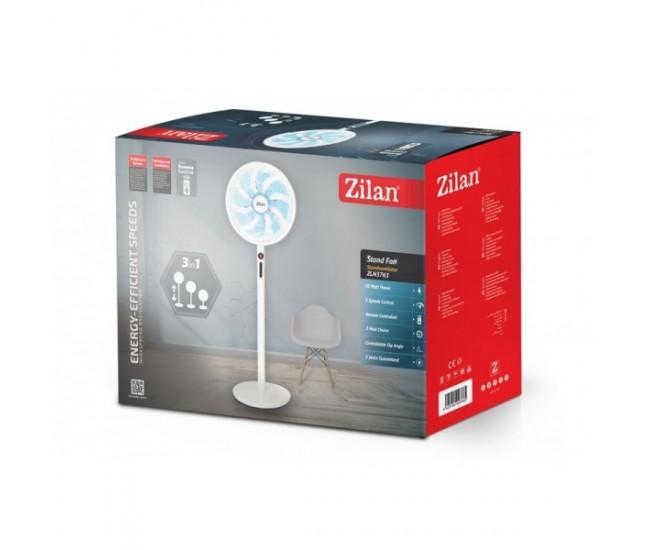 Ventilator cu picior 3IN1 ZILAN ZLN-3765, Telecomanda, Putere 60W, 9 viteze, Oscilatie orizontala, Unghi inclinare reglabil - ZLN3765