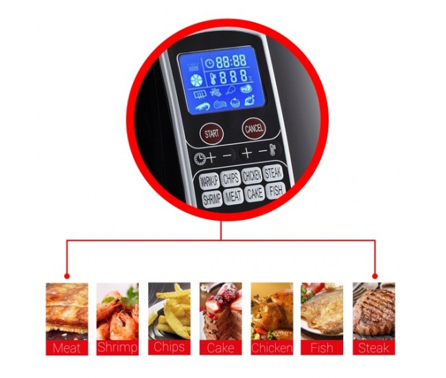 Friteuza Air Fryer Digital ZILAN ZLN-3604,1500 W, Capacitate 3.5 l, Timer 30 min, Negru - ZLN3604