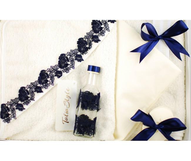 Trusou Botez Talia Style Baby Blue cu broderie, pentru baieti - set pentru biserica TRB745