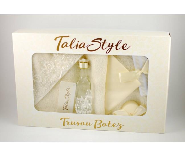 Trusou Botez Talia Style crem cu broderie, pentru fetite si baieti - set pentru biserica TRB749