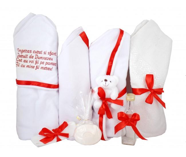 Trusou botez rosu pentru fetite, cu ursulet - Set complet pentru biserica