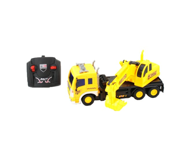 Camion de jucarie cu excavator si telecomanda, galben - PET2157
