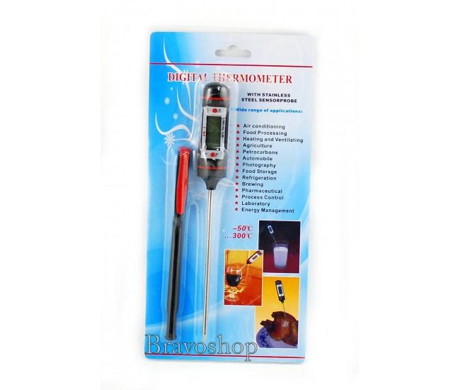Termometru digital cu sonda, afisare LCD si capac - Ideal pentru alimente, lichide, camera etc.