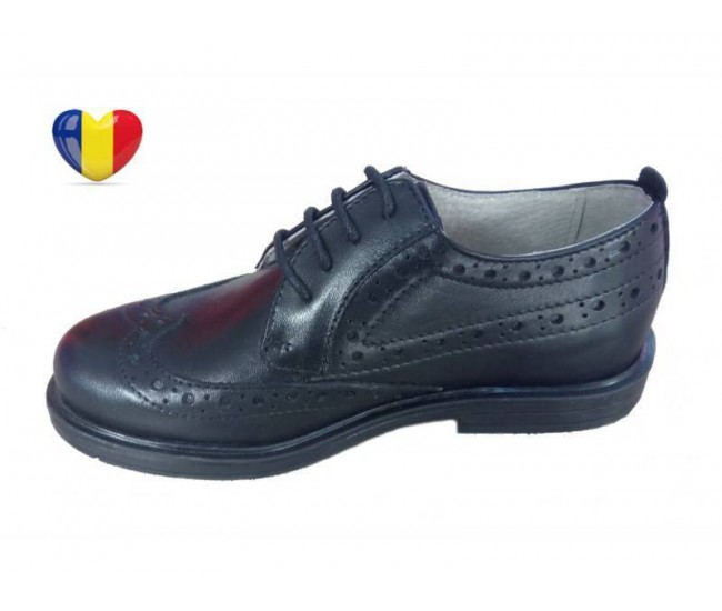 Pantofi baieti piele naturala negri - cod PF18
