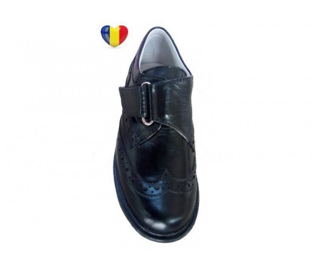 Pantofi baieti piele naturala negri - cod PF19