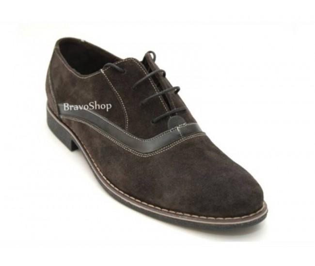 Pantofi barbati maro din piele naturale intoarsa cu suvite casual - eleganti P41M