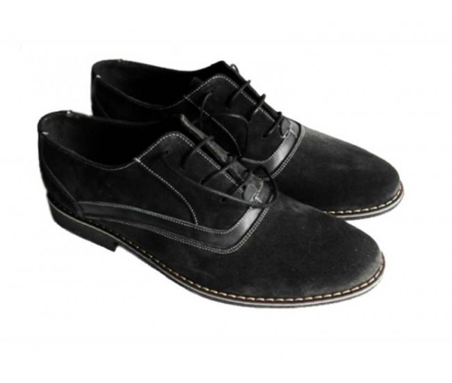 Pantofi barbati negri din piele intoarsa casual & eleganti