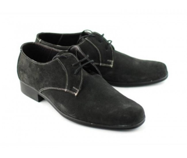 Pantofi barbati piele naturala (Intoarsa) casual-eleganti GRI - Made in Romania!