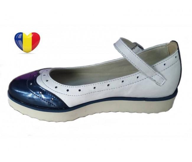 Pantofi fetite piele naturala cu bareta - cod PF20