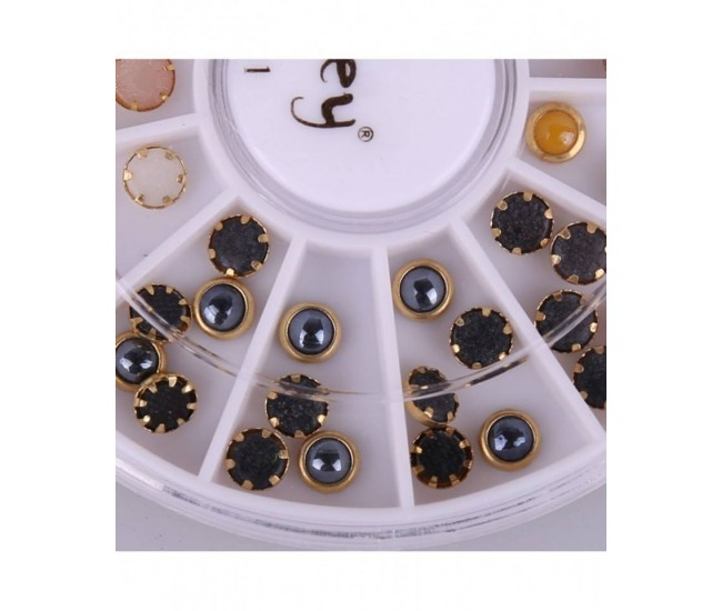 Decor unghii Stras carusel buline colorate- manichiura J211