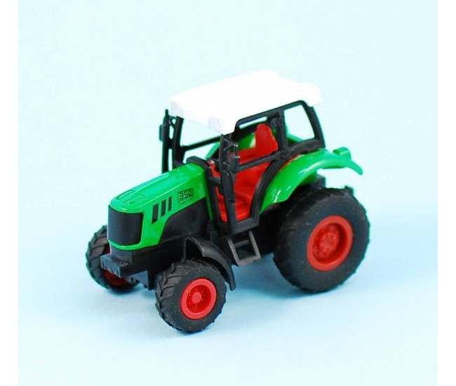 Set 12 tractorase de jucarie cu roti din cauciuc si sistem pull back and go