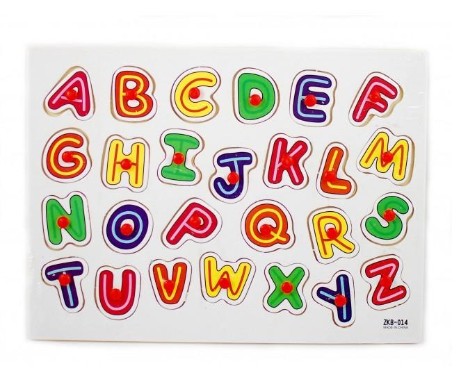 Tabla din lemn cu litere colorate Alfabet - Jucarie educativa