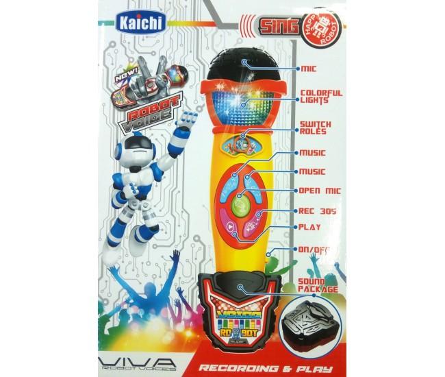 Microfon de jucarie pentru copii cu inregistrare, redare, sunete si lumini, 3399