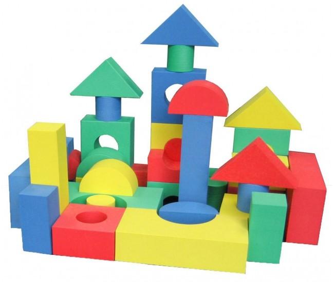 Cuburi si forme geometrice din burete 50 piese - Jucarie creativ, educativa