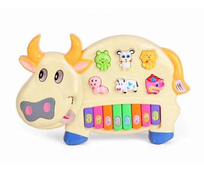 Pianina vacuta muzicala de jucarie pentru copii cu melodii si sunete de animale RT2152A
