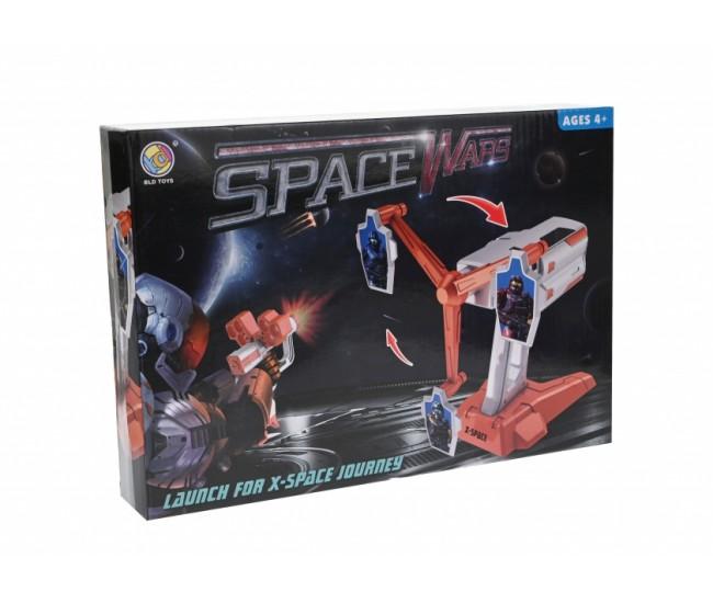 Pistol de jucarie cu tinta rotativa sunete si gloante din burete, pentru 1-2 jucatori SPACE WARS X - B3211