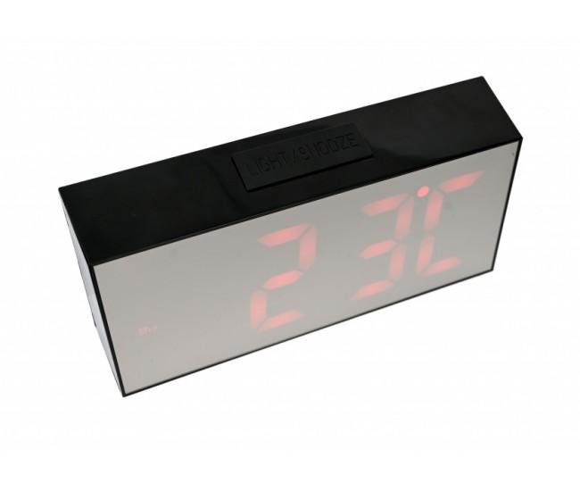 Ceas LED pentru birou cu textura lemn si indicator temperatura - CS02NR