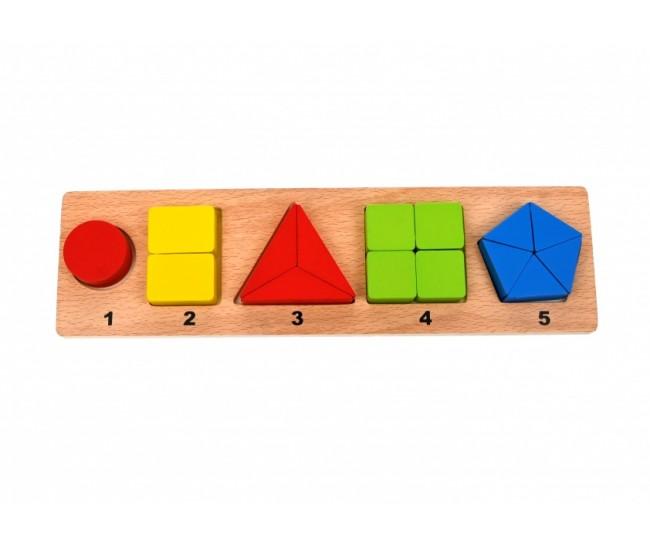 Jucarie creativa de lemn cu forme geometrice - Distractie pentru copii - CUB630