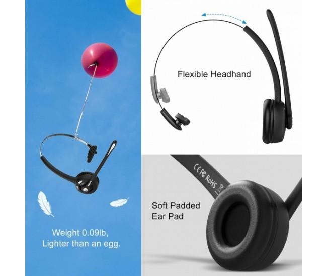 Casca Bluetooth profesionala MPOW PRO, autonomie mare, claritate sunet HD si rotatie 360 grade, recomandata pentru call center sau soferi - BH015B
