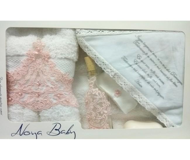 Trusou Botez alb cu broderie roz pentru fetite - set complet pentru biserica TRB504