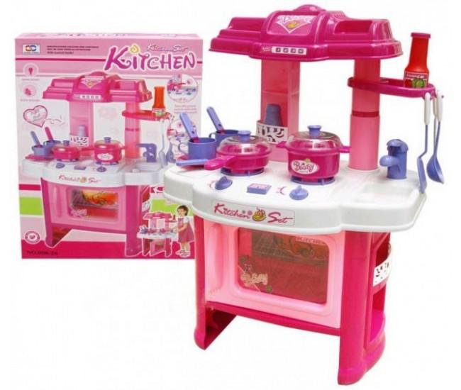 Bucatarie de jucarie cu sunete si lumini pentru fetite - 826ROZ