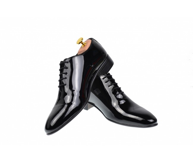 Pantofi barbati office, eleganti din piele naturala lacuita, 024NLAC