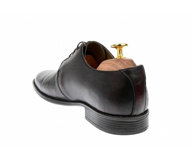 Pantofi barbati eleganti din piele naturala maro cu siret - 588ML